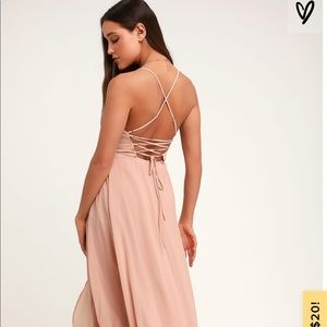In Love Forever Nude Lace-Up High-Low Maxi Dress